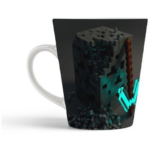 Кружка-латте CoolPodarok Minecraft Майнкрафт (черный куб)