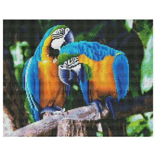 Алмазная мозаика, классическая Попугаи в джунглях, 40х50 см (с подрамником, с полным заполнением)