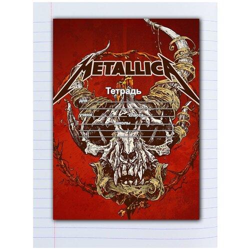 Купить Набор тетрадей 5 штук, 12 листов в линейку с рисунком Metallica Череп на красном, Drabs, Тетради