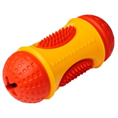 Игрушка для собак Homepet Silver Series цилиндр для лакомств каучук желто-красный 6 см х 13 см (1 шт)
