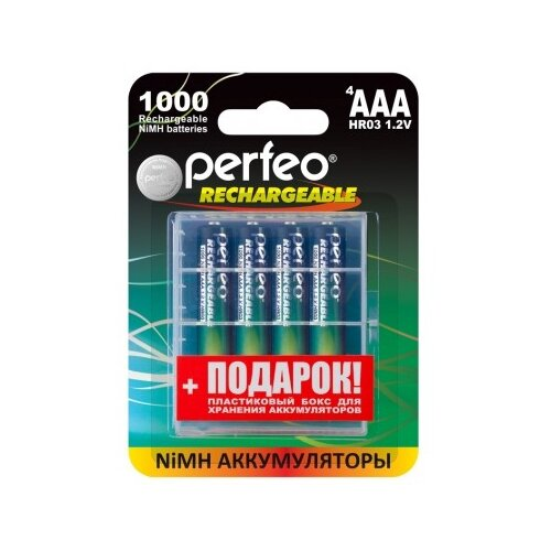 Фото - Perfeo AAA1000/4BL Аккумулятор PFAAA1000/4BL+BOX аккумулятор perfeo aa2500mah 2шт