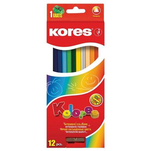 Карандаши цветные 12цв 3-гран, точилка Kores 93312.01, Цветные карандаши  - купить со скидкой