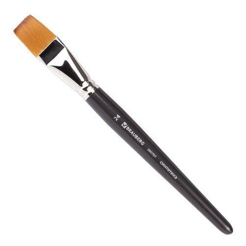 Купить Кисть художественная профессиональная BRAUBERG ART CLASSIC, синтетика мягкая, под колонок, плоская, № 24, короткая ручка, Кисти