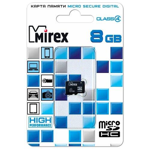 Карта памяти Mirex microSDHC Class 4 8 GB чтение: 12 MB/s запись: 5 MB/s