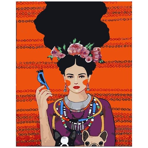 Купить Картина по номерам Девушка на красном, 80 х 100 см, Красиво Красим, Картины по номерам и контурам
