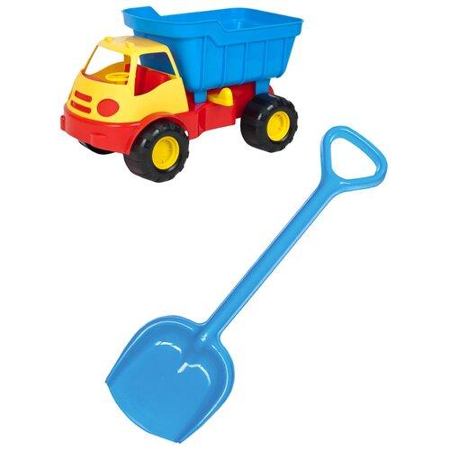 Купить Детский игровой набор для песочницы: Автомобиль самосвал ACTIVE + Лопатка 50 см синяя, ZEBRA TOYS, Karolina toys, Наборы в песочницу