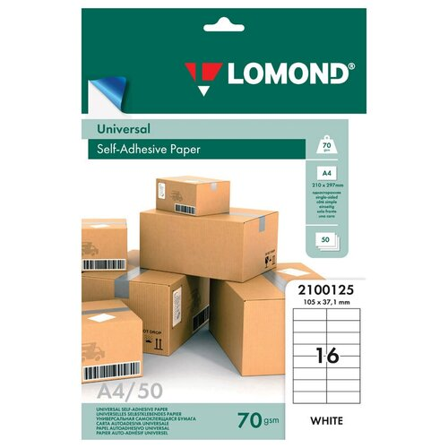 Фото - Бумага Lomond A4 2100125 70 г/м² 50 лист., белый этикетка самоклеящаяся 105х37 мм 16 этикеток белая 70 г м2 50 л lomond 2100125 2100125