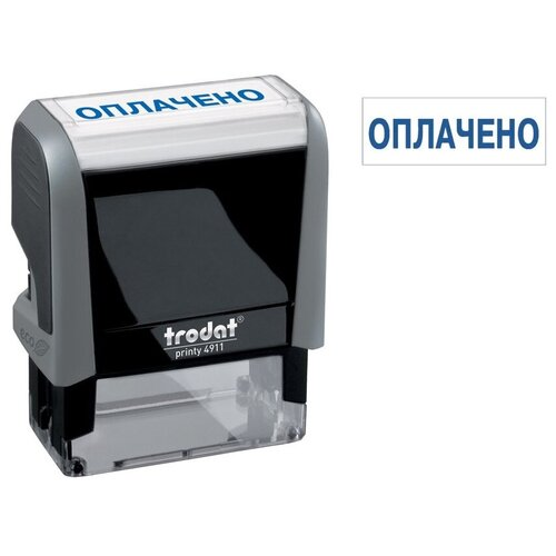 Фото - Штамп Trodat 4911/DB/L1.2 прямоугольный Оплачено чёрно-серый корпус, синий штамп colop printer с20 прямоугольный оплачено синий