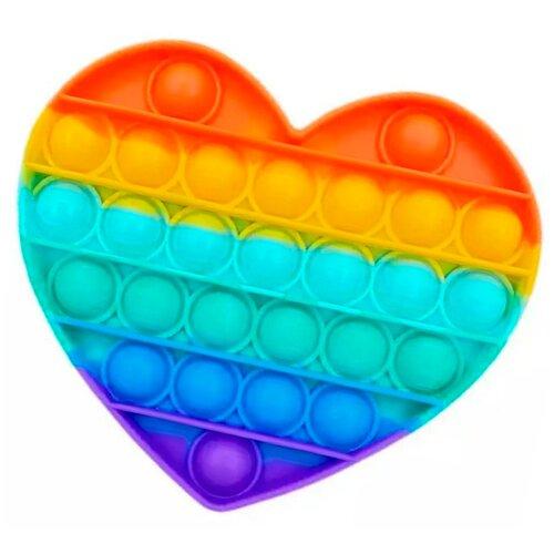 Pop it Тактильная Игрушка антистресс с пузырьками / Поп ит пупырка сенсорная игрушка для развития моторики / Развивающая игра для детей и взрослых (Сердце), Разноцветный