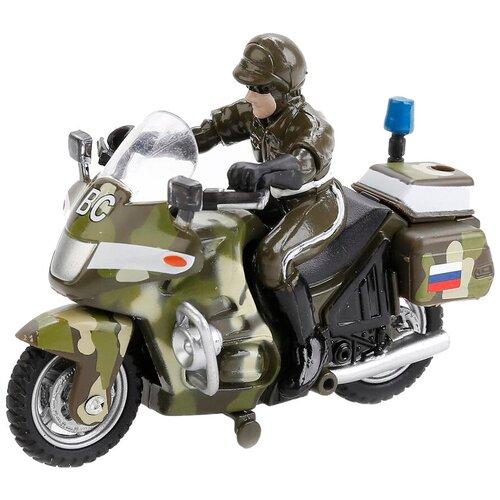 Мотоцикл ТЕХНОПАРК военный с фигуркой (CТ-1247-1), 10 см, зеленый камуфляж