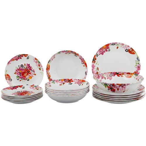 Фото - Столовый сервиз Domenik Fruits Bouquet DM9213, 6 персон, 19 предм., белый/розовый столовый сервиз domenik meadow dm9373 6 персон 19 предм белый цветы