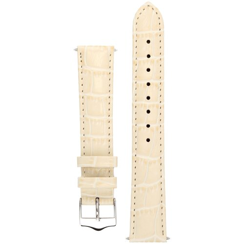 Элегантный ремешок Tropico для часов из кожи теленка с фактурой под аллигатора Signature (молочный) 22 mm V cut (ширина 22мм, длина 20см)
