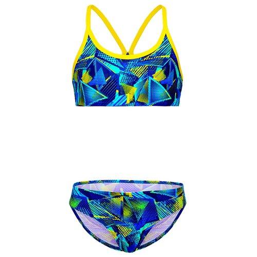 Купить Купальник двухпредметный для девочек, ALIERA, К 21.36, размер 140-146, синий, Белье и купальники