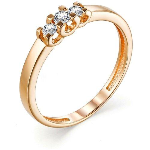 АЛЬКОР Кольцо с 3 бриллиантами из красного золота 13248-100, размер 16 алькор кольцо с 3 бриллиантами из красного золота 13552 100 размер 18