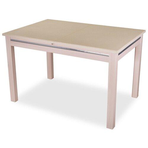 Стол кухонный Домотека Самба КМ 08, раскладной, ДхШ: 110 х 70 см, длина в разложенном виде: 147 см, 06/МД бежевый/молочный дуб 08 МД молочный дуб