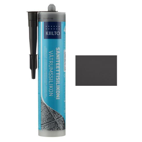 Нейтральный, цветной, силиконовый герметик Kiilto Saniteettisilikoni №48, графитово-серый, 0.31 л.