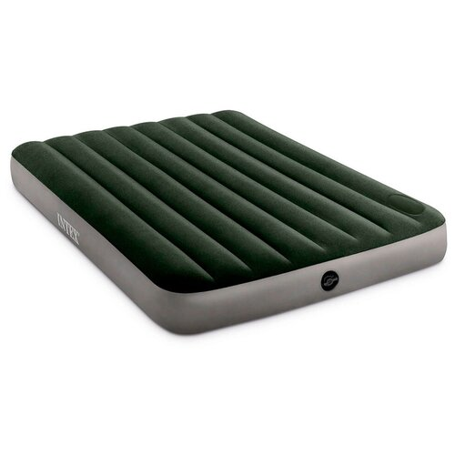 Фото - Надувной матрас Intex Full Dura-Beam Downy Airbed with Built-in Foot Pump (64762) серый/зеленый надувной матрас intex twin dura beam prestige downy airbed 64107 серый черный