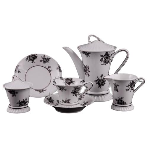 Сервиз чайный Светлана Черная роза, на 6 персон, 15 пр., Leander