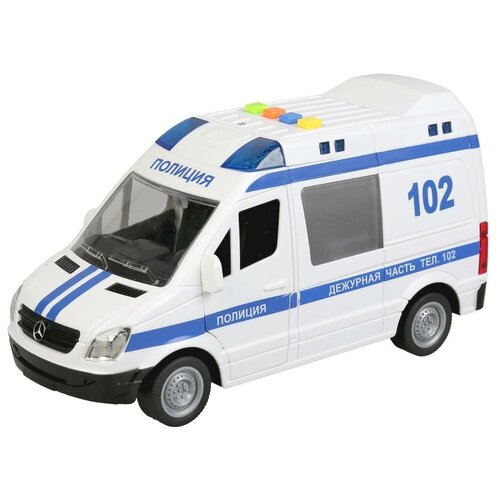 Микроавтобус ТЕХНОПАРК Mercedes-Benz Sprinter Полиция (SPRINTER-22PL-POL), 22 см, белый микроавтобус технопарк mercedes benz sprinter реанимация sprinter 22pl rean 22 см желтый
