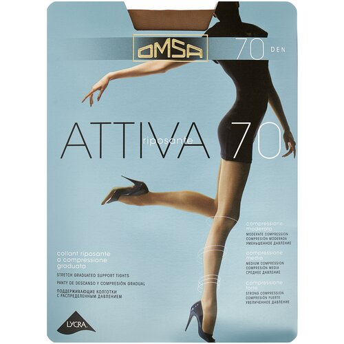 Колготки Omsa Attiva, 70 den, размер 2-S, daino (коричневый) колготки omsa attiva 70 den размер 2 s camoscio коричневый