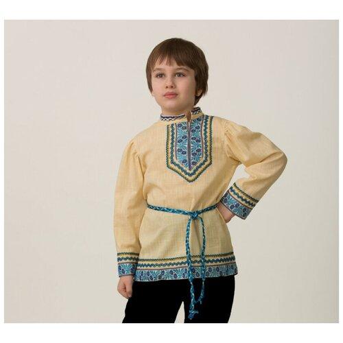 Рубашка вышиванка, бежевая (11916), 110 см.