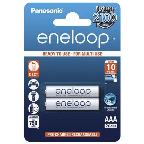 Фото - Аккумулятор Ni-Mh 750 мА·ч Panasonic eneloop AAA, 2 шт. зу panasonic basic k kj51mcc04e для 2 или 4 акк аа ааа ni mh 10 часов и 4шт ааа 750 мач