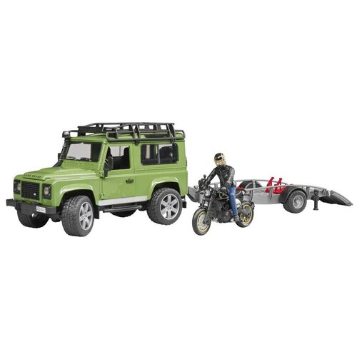 Купить Набор техники Bruder внедорожник Land Rover Defender с мотоциклом Ducati (02-598) 1:16, зеленый/серый/черный, Машинки и техника