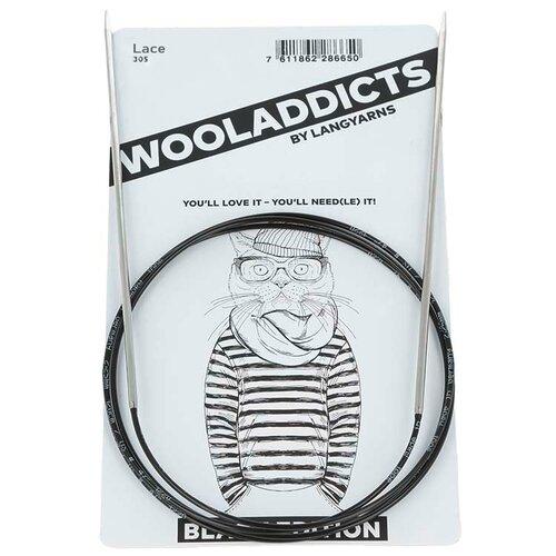 Купить Спицы круговые супергладкие WOOLADDICTS Lace №8, 60 см латунь, пластик серебристый*, Lang Yarns