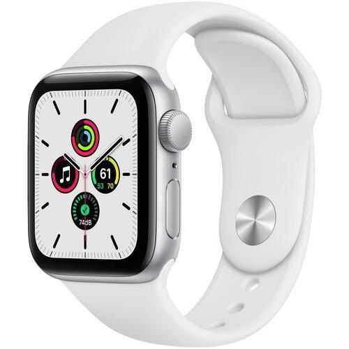 Умные часы Apple Watch SE GPS 44мм Aluminum Case with Sport Band, серебристый/белый умные часы apple watch series 6 gps 44mm aluminum case with sport band white серебристый белый