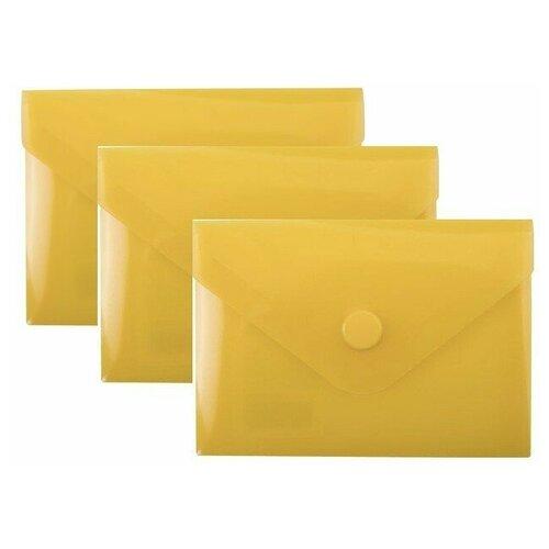 Купить Папка-конверт с кнопкой МАЛОГО ФОРМАТА (74х105 мм), А7 (для дисконтных, банковских карт, визиток) прозр, желтая, 0, 18 мм, BRAUBERG, 227324 (3 штуки) 227324-3, Файлы и папки