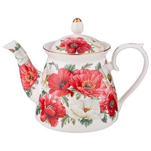Lefard Заварочный чайник Маки 1 л, белый/красный lefard заварочный чайник корейская роза 1 3 л белый розовый золотой