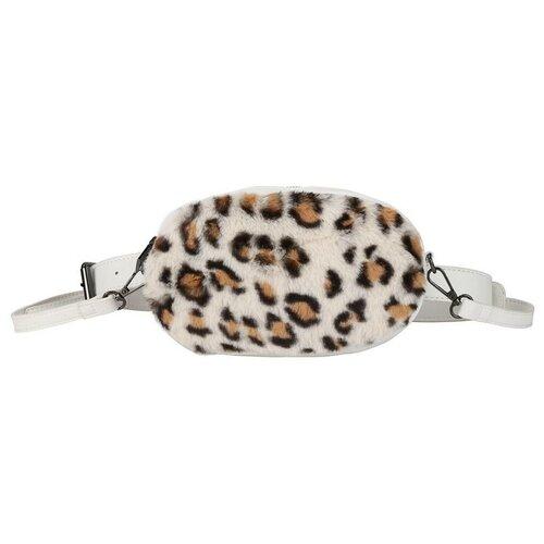 Поясная сумка OrsOro, искусственный мех, белый леопард