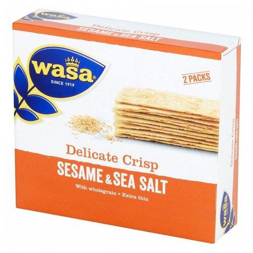 Хлебцы пшеничные Wasa тонкие цельнозерновые кунжут и морская соль 190 гр exotic rice toast цельнозерновые крекеры фиолетовый рис и черный кунжут 65 г 2 25 унции