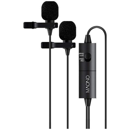 Микрофон петличный 2 шт. на одном кабеле MAONO AU-200 6м (черный)