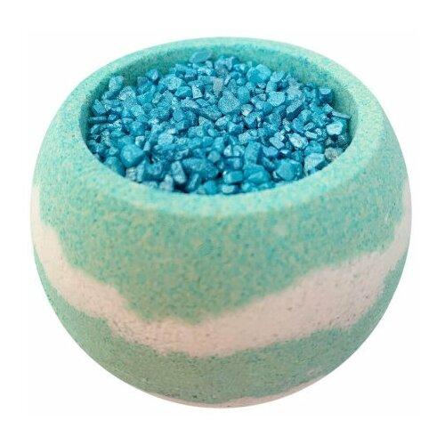 Купить Бомбочка для ванн с шиммером и морской солью бирюзовый, гейзер для ванн - бурлящий шарик, 290 гр, Bomb Master