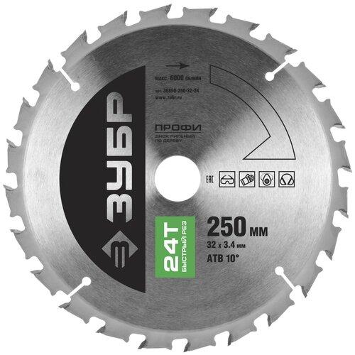 Фото - Пильный диск ЗУБР Профи 36850-250-32-24 250х32 мм пильный диск зубр эксперт 36901 250 32 24 250х32 мм
