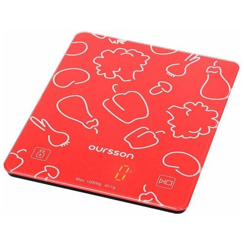 Фото - Кухонные весы, Oursson, Красный, KS1001GD/RD весы кухонные oursson ks0504pd dc