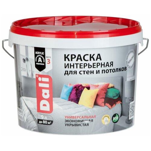Краска акриловая DALI интерьерная для стен и потолков влагостойкая моющаяся глубокоматовая белый 9 л