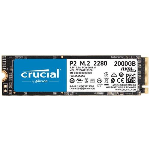 Фото - Внутренний SSD-накопитель 2000Gb Crucial P2 (CT2000P2SSD8) M.2 2280 PCIe NVMe 3.0 x4 внутренний ssd накопитель 4096gb corsair force mp600 core cssd f4000gbmp600cor m 2 2280 pcie nvme 4 0 x4