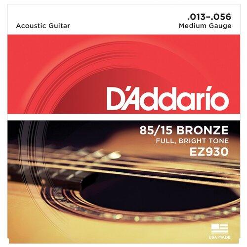 Струны для акустической гитары D`Addario EZ930 AMERICAN BRONZE 85/15 Medium 13-56