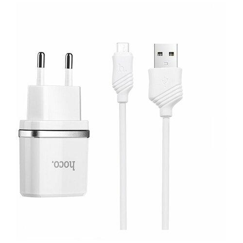 Фото - Сетевое зарядное устройство 2 в 1 Hoco C11, 1А, кабель micro USB, белое сетевая зарядка hoco c11 кабель micro usb white белый