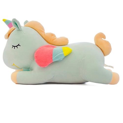 Ультра мягкая игрушка Лежачий Единорог 35см, зеленый
