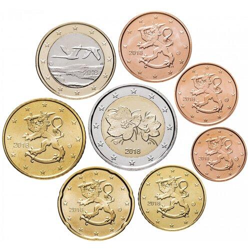 Монета Банк Финляндии набор из 8 монет 2018 года (1, 2, 5, 10, 20, 50 евроцент, 1 и 2 евро, UNC)