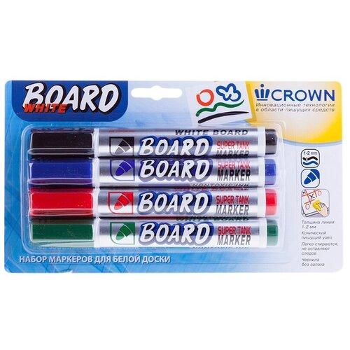 CROWN Набор маркеров для белой доски Multi Board, 4 шт. (CBM-1000-B/ЧСЗК)