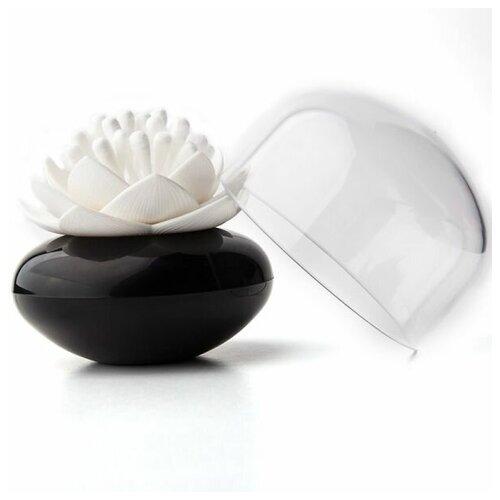 Контейнер для хранения ватных палочек Lotus черный/белый QL10157-BK-WH