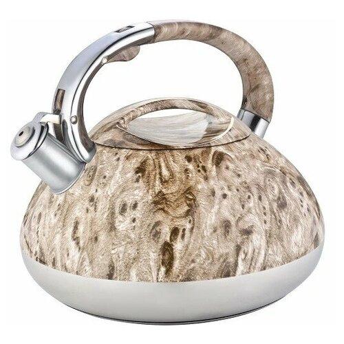 Чайник со свистком 3 литра из нержавейки ZILLINGER ZL-5006-30 цвет слоновая кость