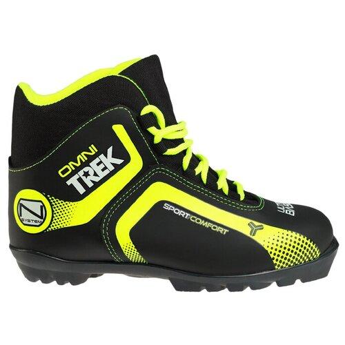 Trek Ботинки лыжные TREK Omni 1 NNN ИК, цвет чёрный, лого лайм неон, размер 37