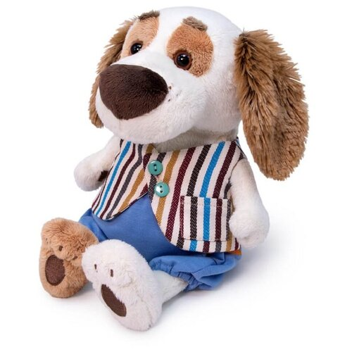 Мягкая игрушка Basik&Co Пёс Бартоломей baby в полосатом жилете 20 см