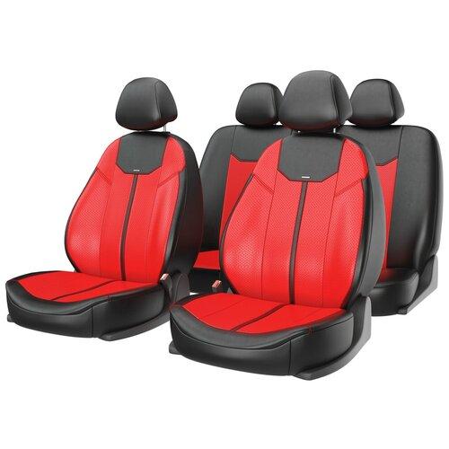 Универсальные чехлы на автомобильные сиденья CarFashion MUSTANG красный/черный/красный