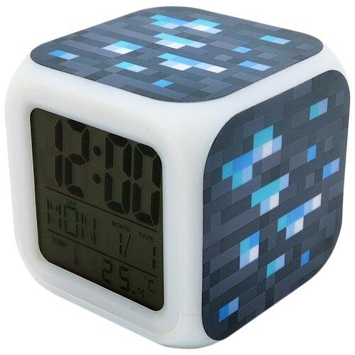 Часы настольные Pixel Crew Блок алмазной руды синий